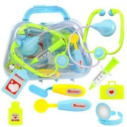 8pcs Set Child Medical Kit Doctor Toys For Girls Kids Role Play Game-blue