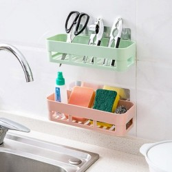 Plastic Washroom Kitchen Storage Box Organizer Basket Toiletries Storage Rack Up To 3kg
