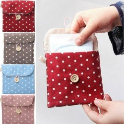 1pcs Portable Cotton Sanitary Pad Organizer Holder Sanitary Napkins Towel Bag Random Color