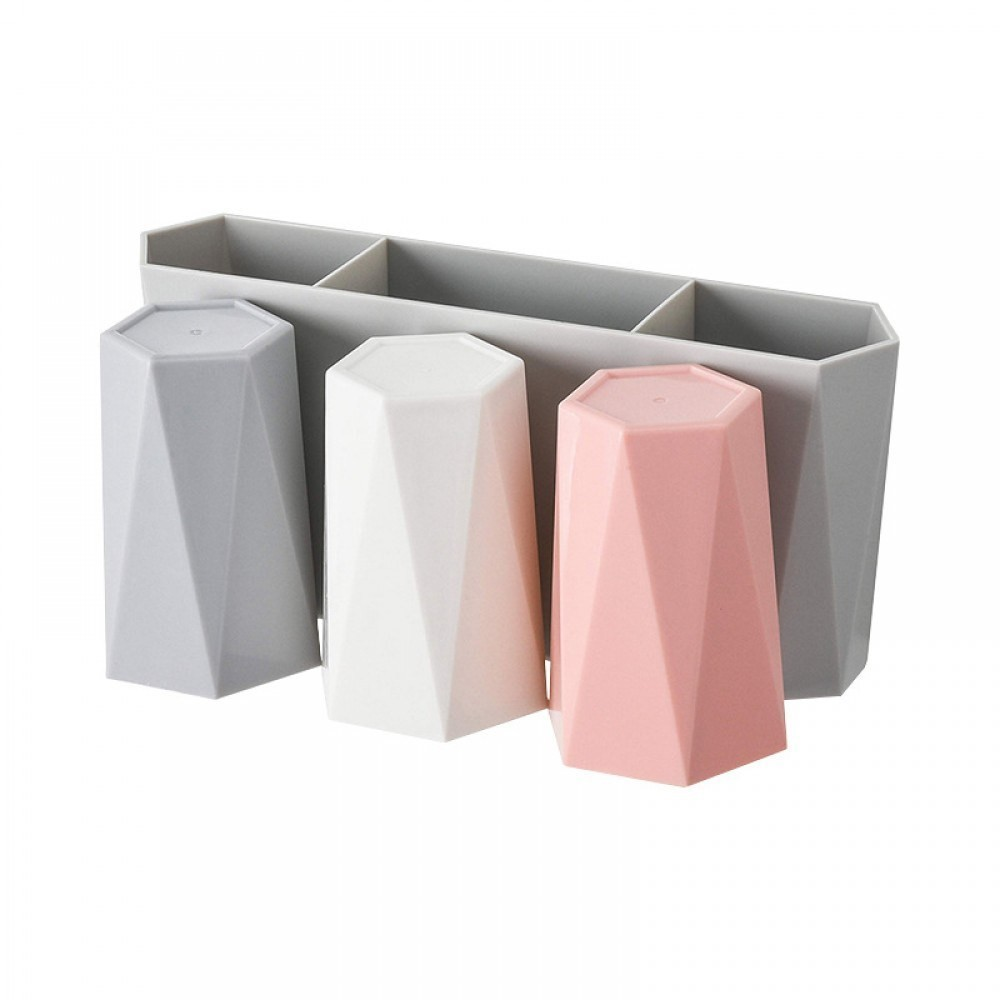 Buy Toothbrush Holder Wall Mount 3 Geometric Cups Online In Nepal