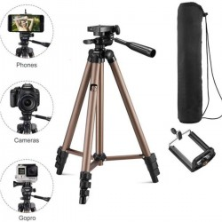 Tripod TR-3130 Portable Aluminum Alloy Camera Tripod-Brown